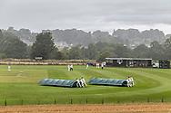 Humshaugh, Hexham, Northumberland, England, UK. 7th August 2021. Rain stops play at Humshaugh Cricket Club near Hexham in Northumberland.