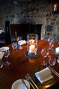 Table setting at the world renowned gastronomic five star restaurant The Three Chimneys on the Isle of Skye in Scotland