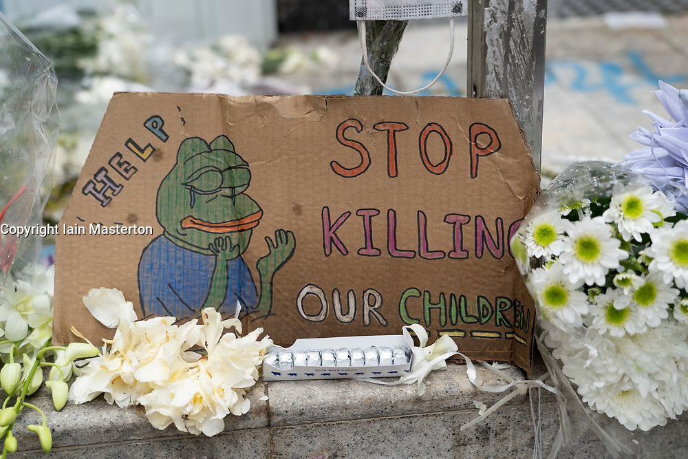 Kowloon, Hong Kong, China,. 7 October, 2019. After a night of violent confrontations between police and pro-democracy protestors in MongKok and YauMaTei in Kowloon, many MTR railway stations and what are thought to be pro-Beijing business franchises were vandalised. Shrine to victims of th pro-democracy movement at Mongkok police station.