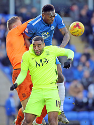 Ricardo Santos of Peterborough United battles for the ball with Southend United's Daniel Bentley and Tyrone Barnett - Mandatory byline: Joe Dent/JMP - 16/01/2016 - FOOTBALL - ABAX Stadium - Peterborough, England - Peterborough United v Southend United - Sky Bet League One