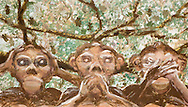 the three wise monkeys apes dramatically looking at us