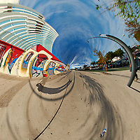 Mirror Ball Building Mural. Tunnel View (90 degrees). Composite of 38 images taken with a Nikon D850 camera and 8-15 mm fisheye lens (ISO 64, 15 mm, f/16, 1/100 sec). Raw images processed with Capture One Pro and Auto Pano Giga.