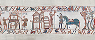 Bayeux Tapestry scene 47:  A house is burnt to clear the way for Williams Army and Duke William gets ready from battle. BYX47 .<br /> <br /> If you prefer you can also buy from our ALAMY PHOTO LIBRARY  Collection visit : https://www.alamy.com/portfolio/paul-williams-funkystock/bayeux-tapestry-medieval-art.html  if you know the scene number you want enter BXY followed bt the scene no into the SEARCH WITHIN GALLERY box  i.e BYX 22 for scene 22)<br /> <br />  Visit our MEDIEVAL ART PHOTO COLLECTIONS for more   photos  to download or buy as prints https://funkystock.photoshelter.com/gallery-collection/Medieval-Middle-Ages-Art-Artefacts-Antiquities-Pictures-Images-of/C0000YpKXiAHnG2k