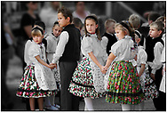 SERIES - DAY TRIPPER  traditional children dancers in local german Svab traditional  dress - Annual wine harvest festival ( szuret fesztival ) . Hajos ( Hajós); Hungary .<br /> <br /> Visit our REPORTAGE & STREET PEOPLE PHOTO ART PRINT COLLECTIONS for more wall art photos to browse https://funkystock.photoshelter.com/gallery-collection/People-Photo-art-Prints-by-Photographer-Paul-Williams/C0000g1LA1LacMD8