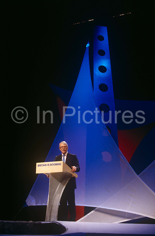 Weeks before his defeat in the 1997 election, British Prime Minister, John Major speaks at a Conservative party election rally on 29th April 1997, in London England. Major went on to lose to Labours Tony Blair which spelled the era of Tory rule under Margaret Thatcher and then Major.