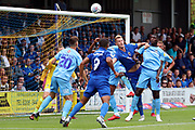 AFC Wimbledon striker Joe Pigott (39) battles for possession in the box during the EFL Sky Bet League 1 match between AFC Wimbledon and Coventry City at the Cherry Red Records Stadium, Kingston, England on 11 August 2018.