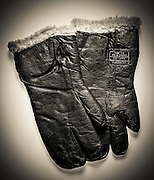 Sheep skinned gloves worn at altitude by SSG Harvey Brundage during his tour as a B-17 waist gunner.