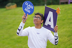 © Licensed to London News Pictures. 10/08/2021.Leeds,UK. Nath Ayushman, 18, who got four A* and is off to study Engineering at University of Cambridge as he celebrates his Α level results at The Grammar School at Leeds. Photo credit: Ioannis Alexopoulos/LNP