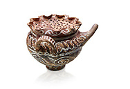"""Minoan Kamares Ware beak spouted """"teapot"""" with herb strainer and  polychrome decorations, Phaistos 1800-1650 BC; Heraklion Archaeological  Museum, white background.<br /> <br /> This style of pottery is named afetr Kamares cave where this style of pottery was first found .<br /> <br /> If you prefer to buy from our ALAMY PHOTO LIBRARY  Collection visit : https://www.alamy.com/portfolio/paul-williams-funkystock/minoan-art-artefacts.html . Type -   Heraklion   - into the LOWER SEARCH WITHIN GALLERY box. Refine search by adding background colour, place, museum etc<br /> <br /> Visit our MINOAN ART PHOTO COLLECTIONS for more photos to download  as wall art prints https://funkystock.photoshelter.com/gallery-collection/Ancient-Minoans-Art-Artefacts-Antiquities-Historic-Places-Pictures-Images-of/C0000ricT2SU_M9w"""