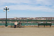 The Terrasse Dufferin (Dufferin Terrace), a walkway along the edge of the cliff, offering beautiful views of the Saint Lawrence River. The Terrasse Dufferin leads toward the nearby Plains of Abraham, site of the battle in which the British took Quebec from France, and the Citadelle of Quebec, Quebec City, Canada