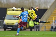 Oxford United Midfielder, Liam Sercombe (8) with a shot at goal during the EFL Sky Bet League 1 match between Oxford United and Scunthorpe United at the Kassam Stadium, Oxford, England on 18 March 2017. Photo by Adam Rivers.