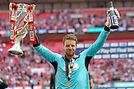 Rotherham United's goalkeeper Adam Collin celebrates his sides win. Skybet football league one play off final match , Leyton Orient  v Rotherham Utd at Wembley Stadium in  London on Sunday 25th May 2014.<br /> pic by John Patrick Fletcher, Andrew Orchard sports photography.
