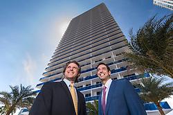 Carlos de Melo and Martin Ferreira de Melo of the Melo Group at their Bay House high-rise in Miami's Edgewater neighborhood.