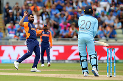 India's Mohammed Shami reacts after a chance at England's Jason Roy's wicket during the ICC Cricket World Cup group stage match at Edgbaston, Birmingham.