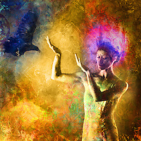 Woman with light crown gesturing towards in coming raven. Photo based illustration.