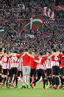 Athletic de Bilbao's team celebrates with the supporters the victory in the Champions League 2014/2015 Play-off.August 27,2014. (ALTERPHOTOS/Acero)