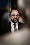 Nobel Peace Prize winner Martin Schulz  meets the press at the Norwegian Parliament.
