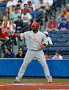 Phillies first baseman Ryan Howard with a bat at the plate during the game between the Atlanta Braves and the Philadelphia Phillies at Turner Field in Atlanta, GA on May 25, 2007..