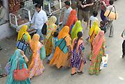 India, Rajasthan, Pushkar people in the street market