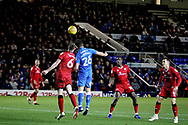 Peterborough United forward Mathew Stevens (26)gets in a header during the EFL Sky Bet League 1 match between Peterborough United and Walsall at London Road, Peterborough, England on 22 December 2018.