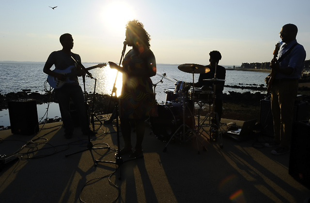 Nekita Waller performs for a private party at a beautiful location at the beach.