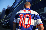 a QPR fan is seen outside Loftus Road before k/o. EFL Skybet football league championship match, Queens Park Rangers v Newcastle Utd at Loftus Road Stadium in London on Tuesday 13th September 2016.<br /> pic by John Patrick Fletcher, Andrew Orchard sports photography.