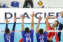 07.09.2014, Krakow Arena, Krakau, POL, FIVB WM, Frankreich vs Belgien, Gruppe D, im Bild Matthijs Verhanneman (BEL), Kevin Tillie (FRA), Nicolas Le Goff (FRA), Antonin Rouzier (FRA) // during the FIVB Volleyball Men's World Championships Pool D Match beween France and Belgium at the Krakow Arena in Krakau, Poland on 2014/09/07. <br /> <br /> ***NETHERLANDS ONLY***