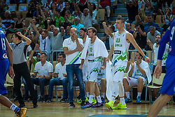 Alen Omic, Zoran Dragic and head coach Jure Zdovc of Slovenia during friendly basketball match between National teams of Slovenia and Italy at day 3 of Adecco Cup 2015, on August 23 in Koper, Slovenia. Photo by Grega Valancic / Sportida