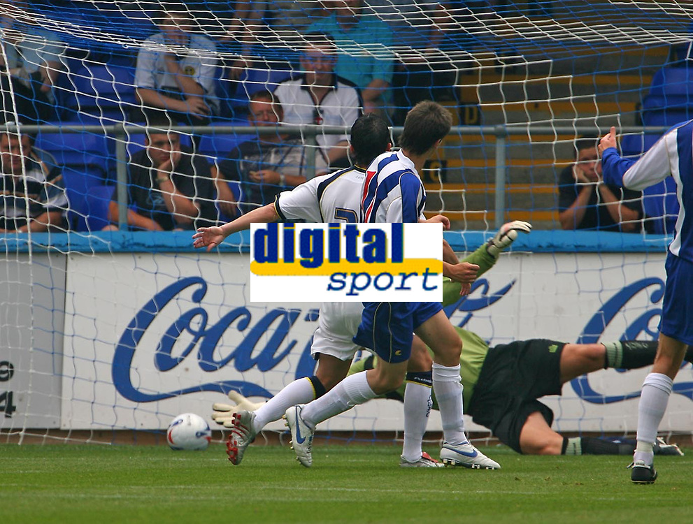 Photo: Andrew Unwin.<br />Hartlepool United v Leeds United. Pre Season Friendly. 22/07/2006.<br />Hartlepool's James Brown (C) puts his team ahead with the first goal of the game.