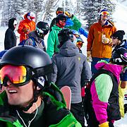 Spectators at the Powder 8 competition below Cody Peak near Jackson Hole Mountain Resort.