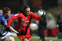 FOOTBALL - FRENCH CHAMPIONSHIP 2010/2011 - L2 - LE MANS FC v ES TROYES - 06/12/2010 - PHOTO ERIC BRETAGNON / DPPI - THORSTEIN HELSTAD (MANS) / STEPHEN DROUIN (TROYES)