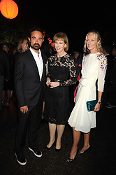Left to right, EVGENY LEBEDEV, JULIA PEYTON-JONES and JOELY RICHARDSON at the annual Serpentine Gallery Summer Party in Kensington Gardens, London on 9th September 2008.