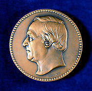 Jean Baptiste Andre Dumas, French organic chemist, 1873.  Dumas (1800-1884) did important work on organic analysis and synthesis, and the determination of atomic weights. After the upheavals in France in 1848, the year of revolutions across Europe, he turned to politics.  Obverse of commemorative medal issued in 1873.