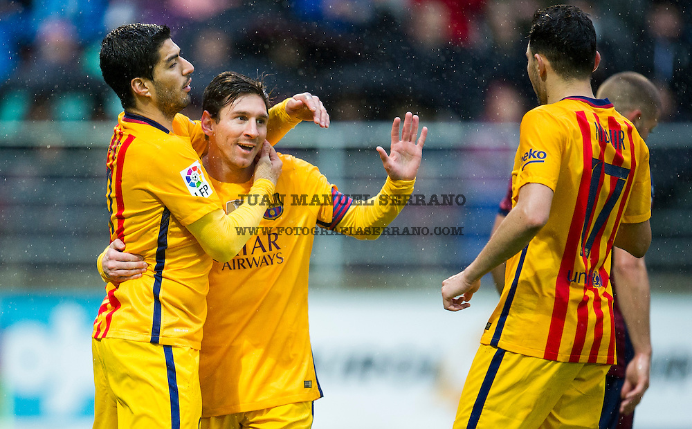EIBAR, SPAIN - MARCH 06:  Lionel Messi of FC Barcelona celebrates with his teammates Luis Suarez and Munir El Haddadi of FC Barcelona after scoring his team's third goal during the La Liga match between SD Eibar and FC Barcelona at Ipurua Municipal Stadium on March 6, 2016 in Eibar, Spain.  (Photo by Juan Manuel Serrano Arce/Getty Images)