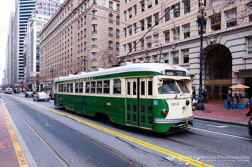 United States, California, San Francisco. Tram on Market Street.