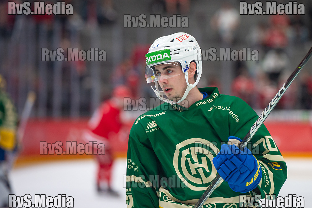 LAUSANNE, SWITZERLAND - SEPTEMBER 24: Oliver Heinen #38 of HC Davos warms up prior the Swiss National League game between Lausanne HC and HC Davos at Vaudoise Arena on September 24, 2021 in Lausanne, Switzerland. (Photo by Monika Majer/RvS.Media)