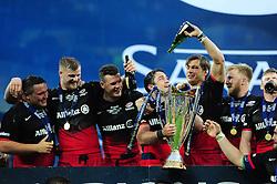 The Saracens team celebrate - Mandatory byline: Patrick Khachfe/JMP - 07966 386802 - 14/05/2016 - RUGBY UNION - Grand Stade de Lyon - Lyon, France - Saracens v Racing 92 - European Rugby Champions Cup Final.