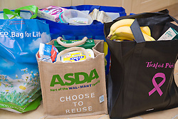 Shopping brought home in reusable 'bags for life' shopping bags,