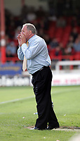 Photo:  Frances Leader.<br /> Swindon Town FC v Peterborough Utd.  Coca-Cola football league one.<br /> The County Ground.<br /> 11/09/2004<br /> Peterborough's manager Barry Fry.