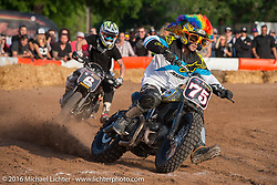 Hooligan Racing on an impromptu parking lot track at the Handbuilt Motorcycle Show. Austin, TX, USA. April 8, 2016.  Photography ©2016 Michael Lichter.