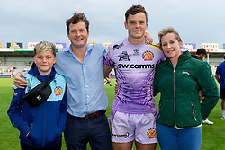 Tom Wyatt of Exeter Chiefs with his family after the final whistle of the match - Mandatory by-line: Ryan Hiscott/JMP - 21/09/2019 - RUGBY - Sandy Park - Exeter, England - Exeter Chiefs v Bath Rugby - Premiership Rugby Cup