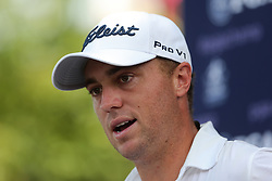 August 9, 2018 - St. Louis, Missouri, United States - Justin Thomas speaks to the media after the first round of the 100th PGA Championship at Bellerive Country Club. (Credit Image: © Debby Wong via ZUMA Wire)