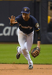 May 8, 2018 - Milwaukee, WI, U.S. - MILWAUKEE, WI - MAY 08: Milwaukee Brewers First base Ryan Braun (8) calls off his pitcher as he runs to 1st for a force out during a MLB game between the Milwaukee Brewers and Cleveland Indians on May 8, 2018 at Miller Park in Milwaukee, WI. The Brewers defeated the Indians 3-2.(Photo by Nick Wosika/Icon Sportswire) (Credit Image: © Nick Wosika/Icon SMI via ZUMA Press)