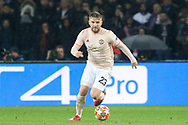 Manchester United Defender Luke Shaw during the Champions League Round of 16 2nd leg match between Paris Saint-Germain and Manchester United at Parc des Princes, Paris, France on 6 March 2019.