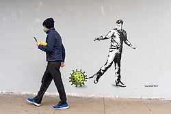 """Glasgow, Scotland, UK. 3 April 2020. New street art based on the current coronavirus pandemic called """"Lockdown"""" by artist The Rebel Bear has appeared in central Glasgow. Iain Masterton/Alamy Live News."""