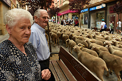 June 9, 2017 - Soria, Spain - An elderly couple watching a flock of sheep fill the streets during the annual livestock migration festival in Soria, northern Spain. The tradition started as an ancient agricultural practice of moving a flock of sheep from one field to another to prevent overgrazing. The migration happens as the animals move from higher altitudes during the summer and lower altitudes during the winter. (Credit Image: © Jorge Sanz/Pacific Press via ZUMA Wire)