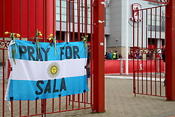 Pray for Sala flag outside Riverside Stadium before the FA Cup fourth round match at Riverside Stadium, Middlesbrough.
