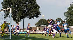(L-R) goalkeeper Jan Hoekstra of FC Groningen, Sven Nieuwpoort of De Graafschap, Anthony van den Hurk of De Graafschap, Django Warmerdam of FC Groningen, Tom van Weert of FC Groningen, Deyovaisio Zeefuik of FC Groningen, Jeffrey Chabot of FC Groningen, Mike te Wierik of FC Groningen, Ted van de Pavert of De Graafschap, Javier Vet of De Graafschap during the Friendly match between De Graafschap and FC Groningen at Sportpark de Munsterman on July 24, 2018 in Silvolde, The Netherlands