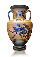 Erotic 5th cnetury BC attica style anfora of two men, black against an potrange background, Caolina Murat Collection inv no 27670, Secret Museum or Secret Cabinet, Naples National Archaeological Museum , white background