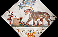 Roman mosaics from Pompeii showing a Panther with Dionysus symbol (Pantera con simboli dionisiaci) from the Santangelo collection, Naples Archaeological Museum, Italy.<br /> <br /> If you prefer to buy from our ALAMY PHOTO LIBRARY  Collection visit : https://www.alamy.com/portfolio/paul-williams-funkystock/roman-mosaic.html - Type -   Naples    - into the LOWER SEARCH WITHIN GALLERY box. Refine search by adding background colour, place, museum etc<br /> <br /> Visit our ROMAN MOSAIC PHOTO COLLECTIONS for more photos to download  as wall art prints https://funkystock.photoshelter.com/gallery-collection/Roman-Mosaics-Art-Pictures-Images/C0000LcfNel7FpLI